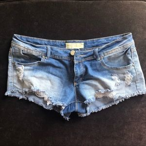 Almost Famous jean shorts with lace & distressing